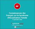 Connaissances des Français sur le Syndrome d'Alcoolisation Foetale. Sondage OpinionWay pour SAF France, 4 septembre 2020